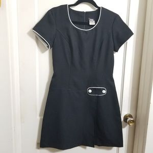 Retro Style Dress w/ button front and pleat detail
